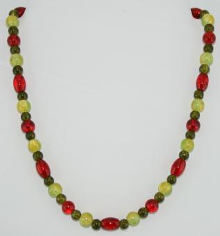 Halskette kurz in Grün-Rot  - UNIKAT!