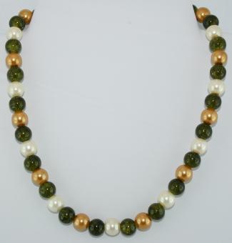Halskette kurz in Grün-Gold-Weiß  - UNIKAT!