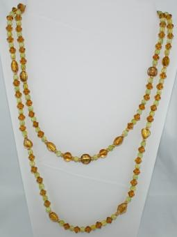 Halskette doppeltlang in Gelb-Grün  - UNIKAT!