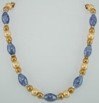 Halskette kurz in Gold-Blau  - UNIKAT!