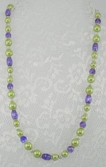Halskette kurz Grün-Lila - UNIKAT