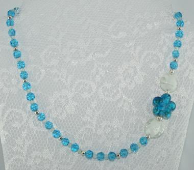 Halskette kurz Blau-Weiß-Silber - UNIKAT!