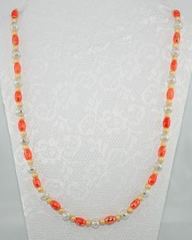 Halskette lang Gelb-Orange-Silber - UNIKAT!