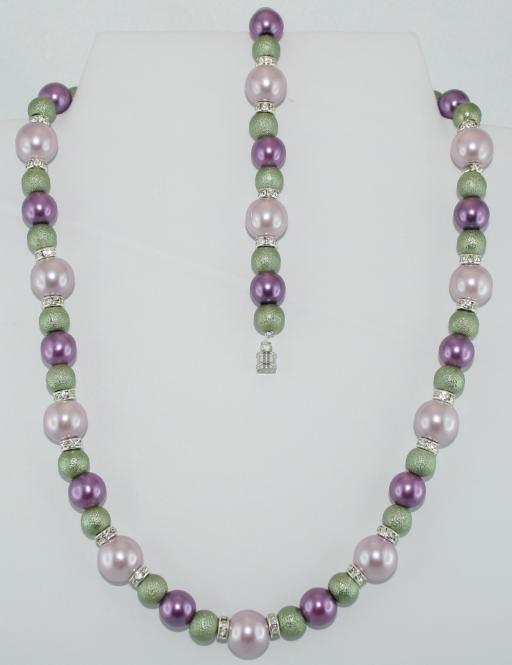 Set aus Halskette und Armband in Lila-Flieder-Grün