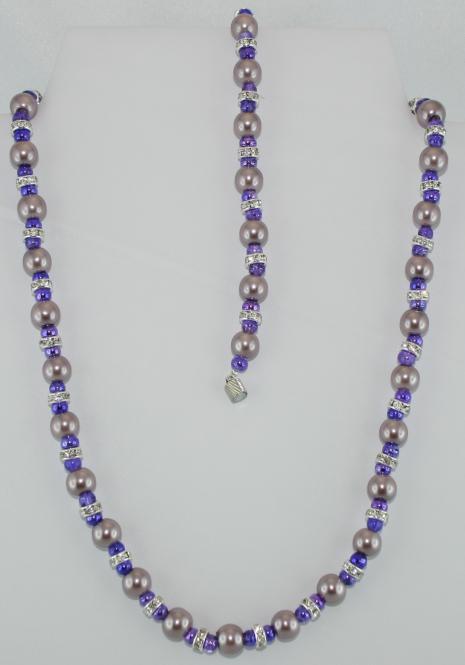 Set aus Halskette und Armband in Flieder-Lila