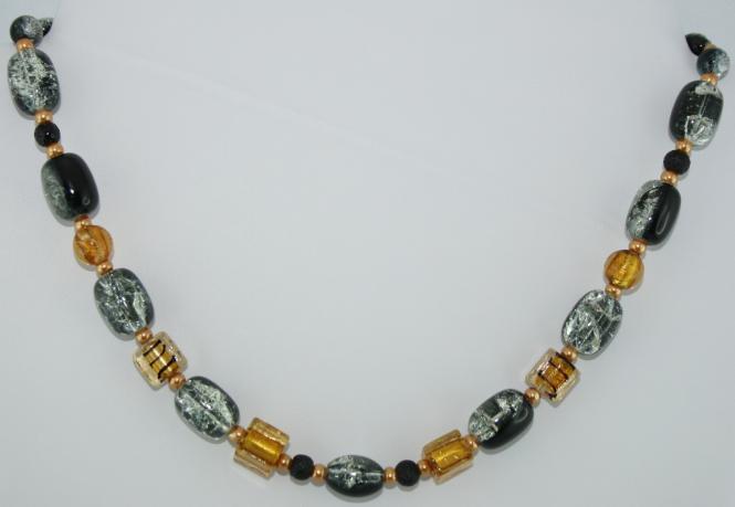 Halskette kurz in Schwarz-Gold  - UNIKAT!