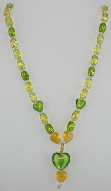 Halskette kurz in Grün-Gelb  - UNIKAT!