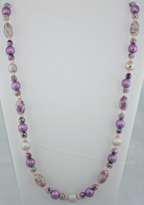 Halskette lang in Lila-Grau  - UNIKAT!