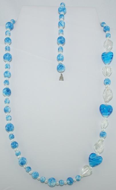 Set aus Halskette und Armband in Blau-Weiß