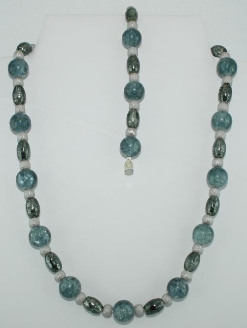 Set aus Halskette und Armband in Blaugrau-Silber