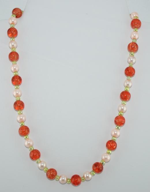 Halskette kurz Lachs-Grün