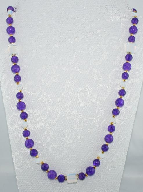 Halskette lang Lila-Mondstein-Gold - UNIKAT