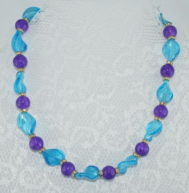 Halskette kurz Lila-Aqua - UNIKAT